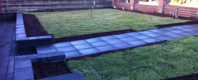Slate grey entrance path landscaping square