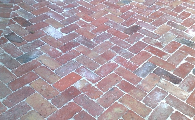 Bricklaying Paving rustic reclaimed redbrick herringbone