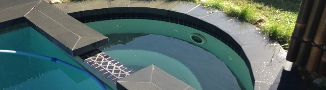 pool coping spa slate curve swim landscaping