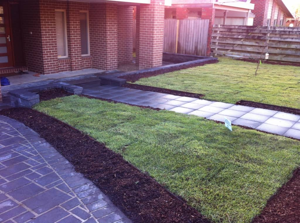 Slate grey driveway entrance path landscaping