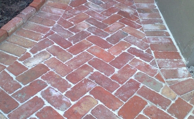 Bricklaying Paving herringbone rustic brick recycled reclaimed