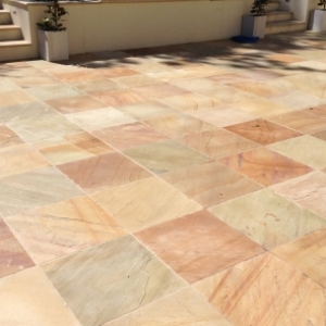 paving terracotta square landscaping garden makeover steps