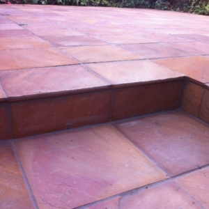 paving stone square landscaping garden makeover steps