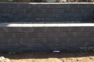 brick wall grey landscaping retaining