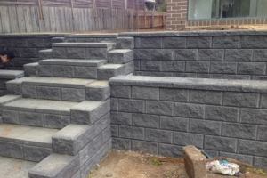 grey brick wall steps landscaping retaining