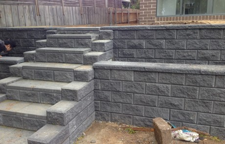 grey brick wall steps landscaping
