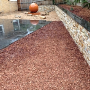 Brick fancy wall pebbles water feature