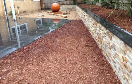 Brick fancy wall pebbles water feature
