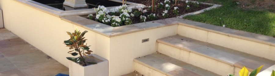 Brick fancy column elegant steps water feature garden landscaping