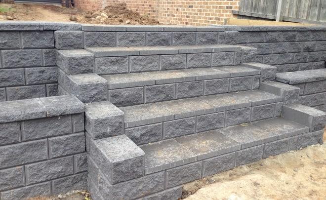 grey brick wall steps landscaping