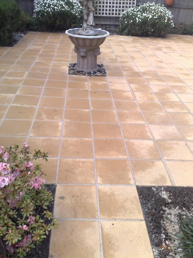 paving stone landscaping garden makeover fountain water feature birdbath patios