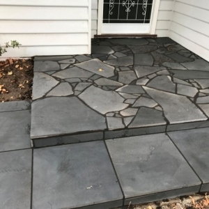 Slate paving, crazy paving, porch, entrance, bluestone paving, landscaping