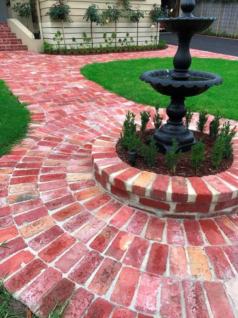 Recycled brick garden path, fountain, garden, grass, lawn
