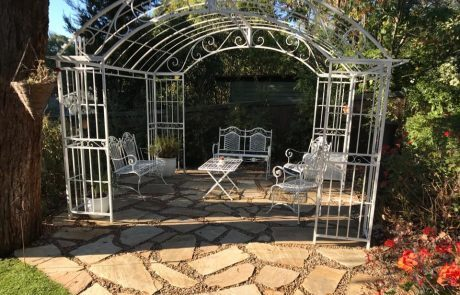Gazebo, sandstone patio, patio, garden setting, pebbles,