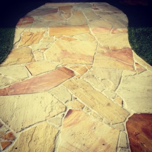 crazy paving, garden path, footpath, sandstone paving, landscaping