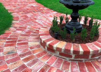 Recycled brick garden path, fountain, garden, grass, lawn