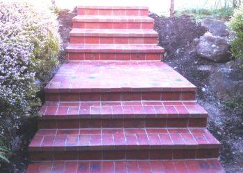 brick steps, paving, red brick steps