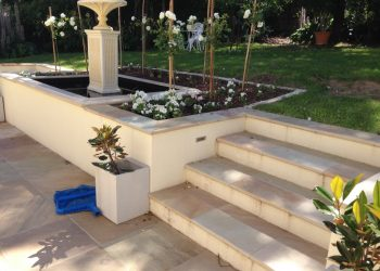 Brick fancy column elegant steps water feature garden landscaping
