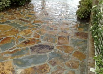 crazy paving slate driveway landscaping