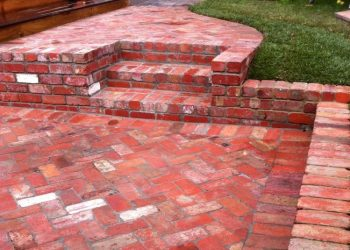 Brick paving, steps, grass, recycled bricks, reclaimed bricks