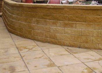 brick wall concrete wall paving